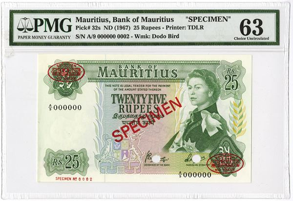 Bank of Mauritius, 1967 ND Specimen Banknote