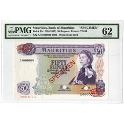 Bank of Mauritius, 1967 ND Specimen Banknote.