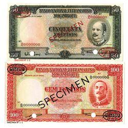 Banco Nacional Ultramarino Mozambique, 1958 Specimen Banknote Pair.