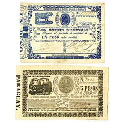 Republica del Paraguay, ND (1865) Issued Banknote Pair.