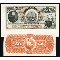 Banco Nacional Del Paraguay, 1886 Issue Proof.