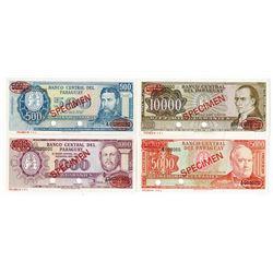 "Banco Central Del Paraguay,  L.1952 (ca.1963), ""Specimen Set #1"" Banknote Quartet."