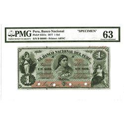 Banco Nacional Del Peru, 1877, 1 Sol Specimen Banknote.