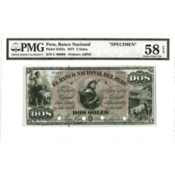 Banco Nacional Del Peru, 1877, 2 Soles Specimen Banknote.