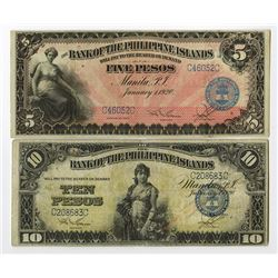 Bank of the Philippine Islands, 1920, Pair of Issued Banknotes
