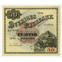 "Sveriges Riksbank, 1944, 50 Kronor Specimen ""ANNULLERADO"" Banknote."