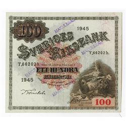"Sveriges Riksbank, 1945, 100 Kronor Specimen ""ANNULLERADO"" Banknote."