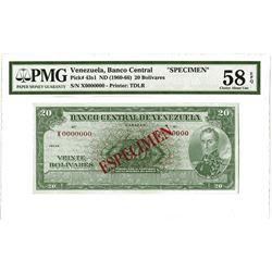 Banco Central De Venezuela, ND (1960-66) Specimen Banknote.