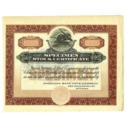 Specimen Stock Certificate, ca.1910-20.