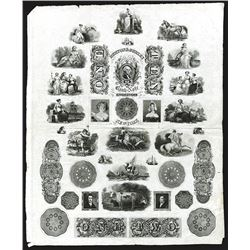 Burton & Gurley Bank Note Engravers, circa 1820's Proof Advertising Vignette Sheet.