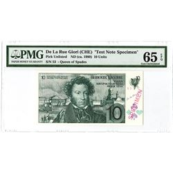 De La Rue Giori, ca. 1980, Test Banknote