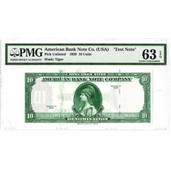 "American Bank Note Co.1929 (ca.1960-80's) Sample ""Test Note"" with ""Tiger"" Watermark."