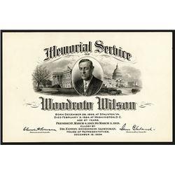 Woodrow Wilson Memorial Service Card.