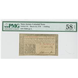 New Jersey Colonial Note, March 25, 1776, 1 Shilling, Fr#NJ-175. Signed by John Hart, Signer of the