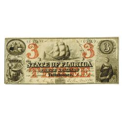 State of Florida, 1864 $3 Issued Obsolete Banknote.