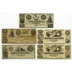 Bank of Augusta Obsolete Banknote Assortment.