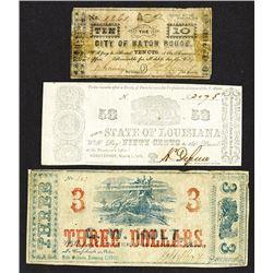 Louisiana, Lot of 3 notes