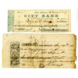 New Orleans Fiscal  Paper Pair, ca.1840s.