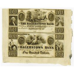 Hagerstown Bank, ca.1840's Uncut Obsolete Banknote Sheet of 2.