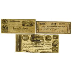 Maryland Obsolete Banknote Trio, ca.1837-1841.
