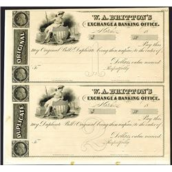 W.A. Bratton's Exchange & Banking Office, ca.1830's Proof Uncut Bill of Exchange Pair.