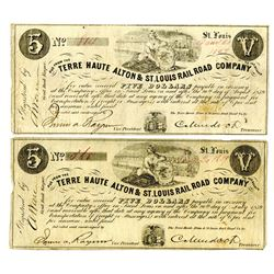 Terre haute Alton & St.Louis Rail road Co., 1859 $5 Obsolete Banknote Pair.