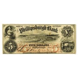 Philipsburgh, NJ. Phillipsburgh Bank 1863 $5 Obsolete Banknote.