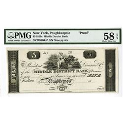 Middle District Bank, 18xx (ca.1810-20) Obsolete Proof Banknote.