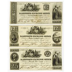 R. Lefferts Exchange office, 1857 Obsolete Scrip Note trio.