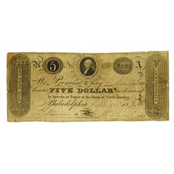 Bank of North America, 1829 Issued Obsolete Banknote.