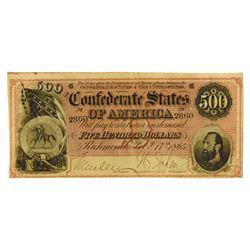 C.S.A., 1864 $500 T-64 Confederate Banknote.