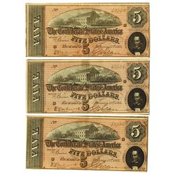 C.S.A., 1864 Lot of 3 $5 Notes T-69, All are AU to Choice AU and 2 with Sequential Serial Numbers.