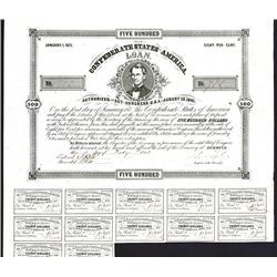 Confederate States Bond. $500. Cr.59, B-65.