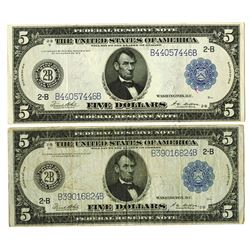 F.R.N., $5 Series of 1914 Pair, Both are Fr#851, New York District.