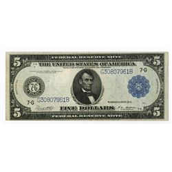 U.S. Federal Reserve Note, $5, 1914, Fr#871, Chicago District, Issued Note.