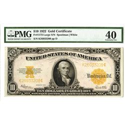 U.S. Gold Certificate, $10 1922, Fr#1173, Large Serial Number, Speelman |White Signatures.