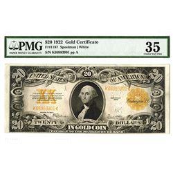 U.S. Gold Certificate, $20 1922, Fr#1187, Speelman |White Signatures.
