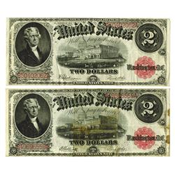 U.S. Legal Tender, $2 1917 Banknote Pair, Fr#'s 59 and 60.