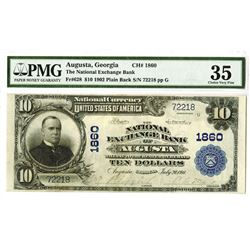 National Exchange Bank of Augusta, $10, Series of 1902 Plain Back, Fr#628, Ch# 1860
