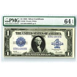 U.S. Silver Certificate, $1, Series 1923, Fr#238 PMG graded Choice Uncirculated 64 EPQ.