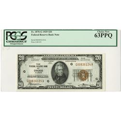 U.S. Federal Reserve Bank Note, $20, 1929, Fr#1870-G, Chicago District, Issued Note.