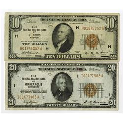 U.S. Federal Reserve Bank Notes, 1929, Issued Pair.