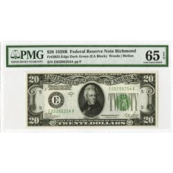 U.S. Federal Reserve Note, $20, 1928B, Fr#2052-E, Issued Star Note.