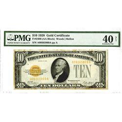 U.S. Gold Certificate, $10 1928, Fr#2400 (AA Block), Woods |Mellon Signatures.
