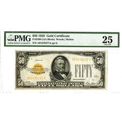 U.S. Gold Certificate, $50 1928, Fr#2404 (AA Block), Woods |Mellon Signatures.