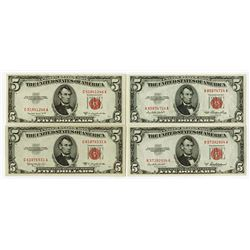 U.S. Legal Tender Note, $5, 1953, Quartet of Issued Notes.