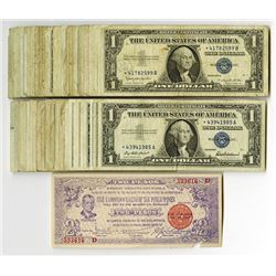 U.S. Silver Certificate, $1, 1935-1957, Group of 80+ Issued Notes.