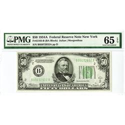 U.S. F.R.N., $50, Series 1934 A, Fr#2103-B (BA Block) PMG graded Gem Uncirculated 65 EPQ.