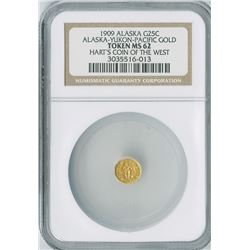 "Alaska-Yukon-Pacific Gold Token 25c, 1909, gold, NGC graded MS62PL, ""Hart's Coin of the West""."
