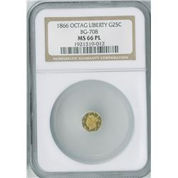 California Fractional 25c 1866, BG-708, Octagon Liberty gold, NGC graded MS66PL
